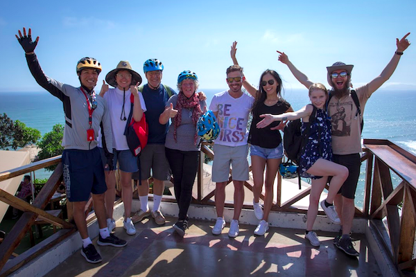 Our fellow Airbnb Experience bikers. We rode through the Miraflores and Barranco neighborhoods for three hours! It was really fun - but we felt both it the next day!