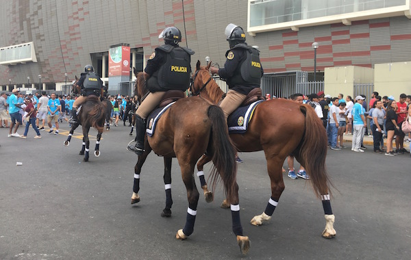 It was hard to capture the crowds and the robust security around the stadium in a photo, but you can see the first horse starting to gallop towards the crowd.