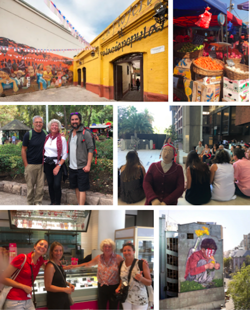 We took four walking tours in all. One through the food markets, one historical tour, one city overview and a street art tour that ended with ice cream. So that was the best one! Note the knitted women who was not paying attention to the guide!
