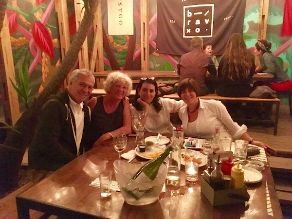 Out late at  bravo  with our host Macarena and her partner Romani. Macarena is a film producer and university professor. She had many interesting stories about the politics of making movies in Chile.