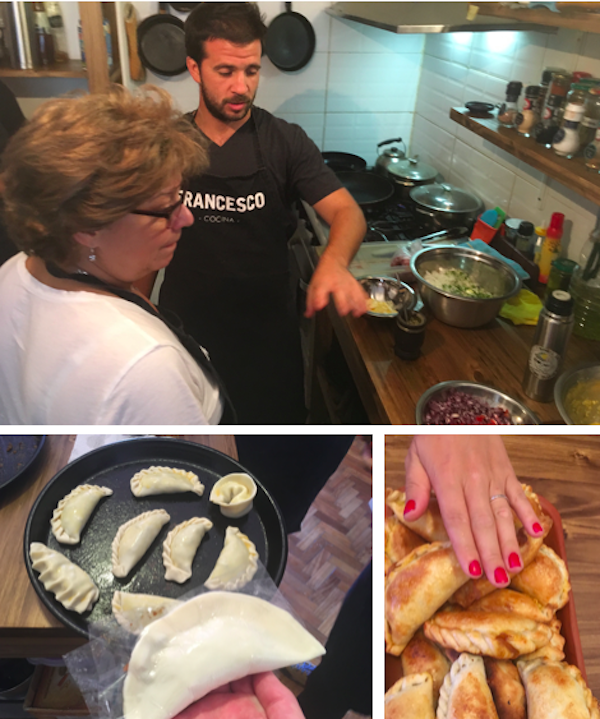 We learned the different ways of folding the edges of an empanada so you know what's inside. The crimping is different for meat, chicken, cheese, or just veggies.