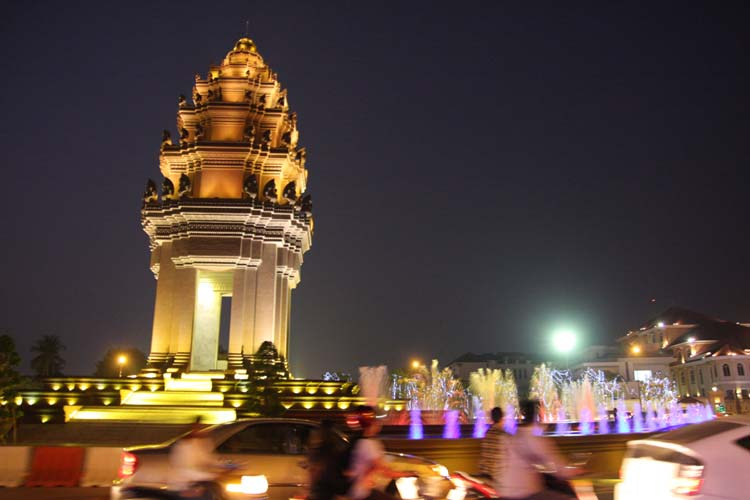 Cambodia lights at night in the city of Phnom Penh