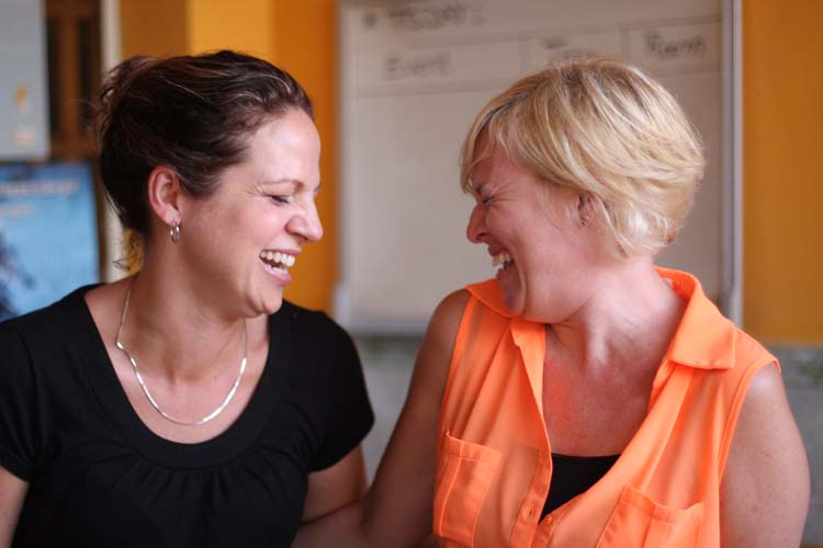 BANK Founder, Rachelle Kearns, sharing a laugh with Helen Sworn, Director of Chab Dai Coalition