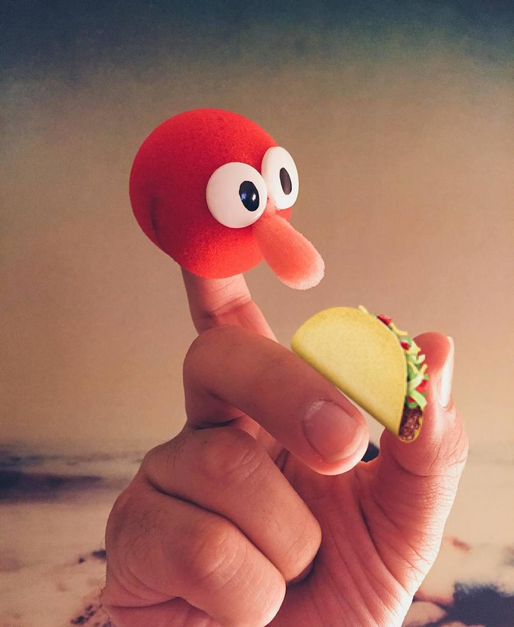Guy enjoys a taco. #puppet http://ift.tt/1Mj7N1p