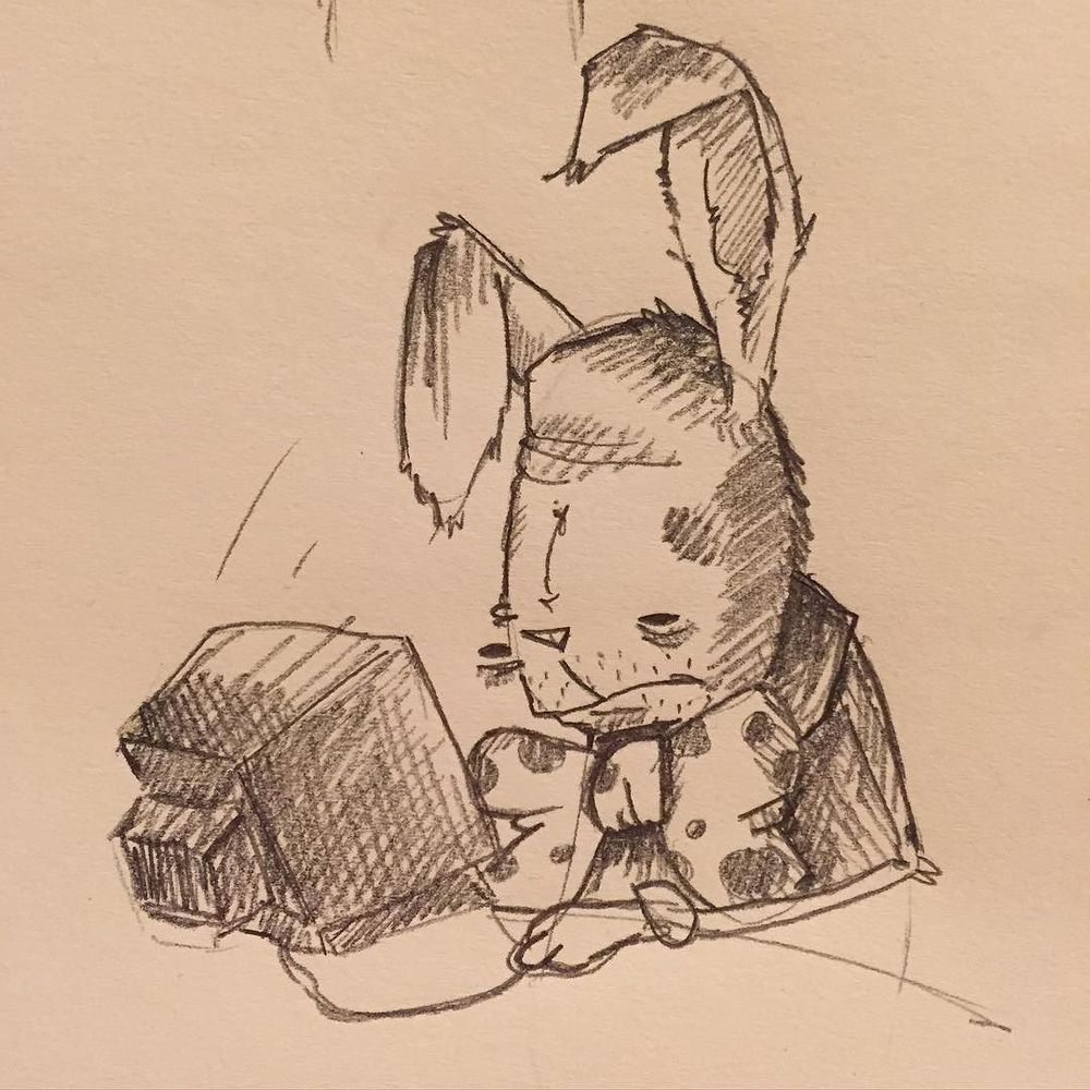 Rickles the bunny deals with unemployment alone. #doodle http://ift.tt/1YCaZOm