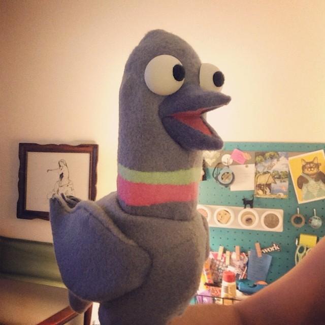 Viola, pigeon #puppet. #nymf2014 @ClonedMusical