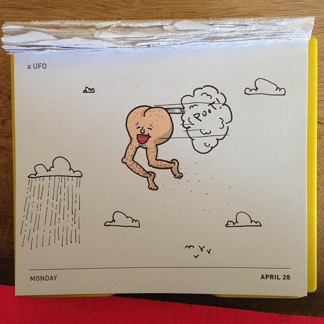 Today's Daily Draw. A UFO. Get it? #dailydraw