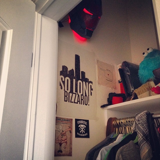 My closet.. Iron Man is scaring my puppets in there.