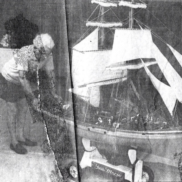 My Great Grandpa Bizzaro and the remote controlled boat he built in his garage from scratch, no kit. It had moving sailors, sails, and many other things I can't name. He was deeply inspiring to me growing up. #badassart