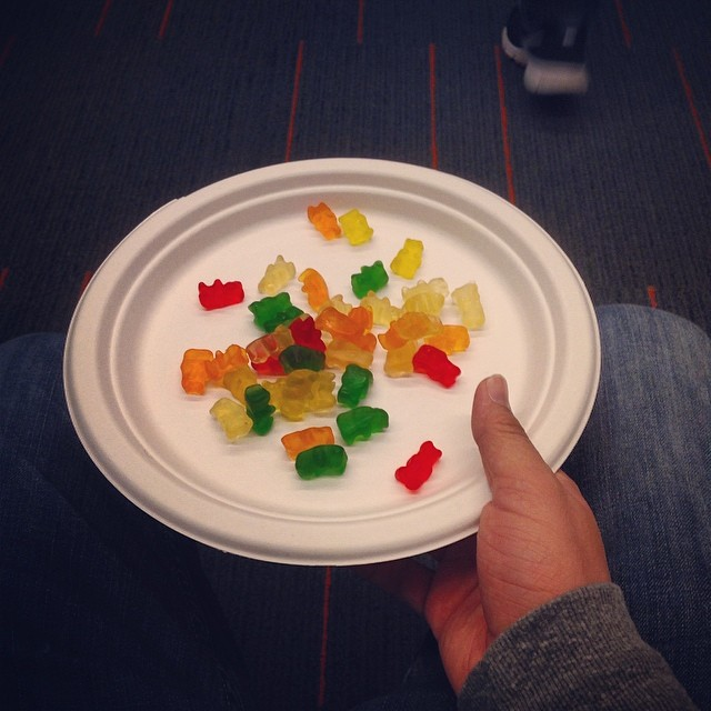 Gummy bears. Puppet improv food.