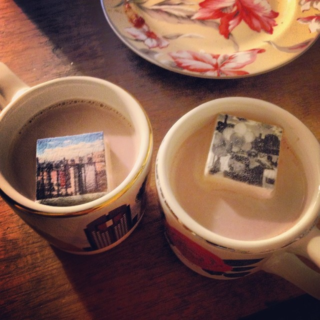 Drinking hot chocolate with @casscakey. Those are marshmallow Instagram prints! We are going to eat our memories.