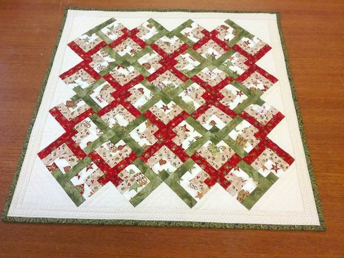Linked Chevron Christmas Bows lap quilt or a wall hanging Workshop at Sidmouth Fabrics Devon