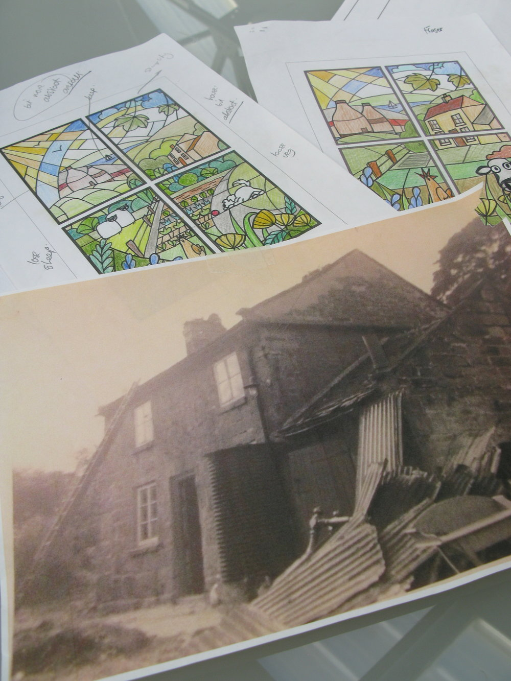Sketches and photo of old house.JPG