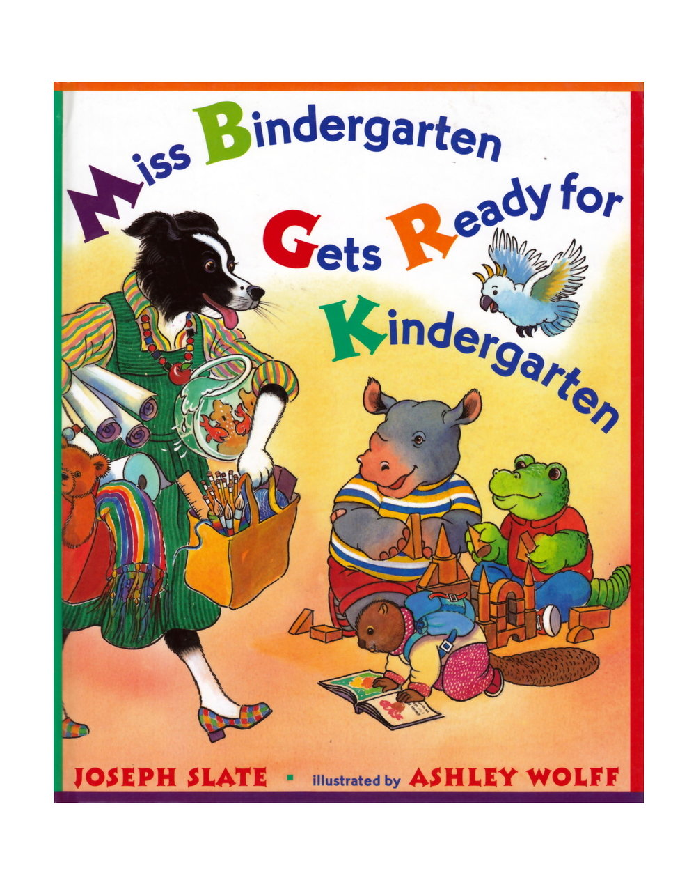 from the Summary: It's the first day of kindergarten and Miss Bindergarten is hard at work getting the classroom ready for her twenty-six new students. Meanwhile, Adam Krupp wakes up, Brenda Heath brushes her teeth, and Christopher Beaker finds his sneaker. Miss Bindergarten puts the finishing touches on the room just in time, and the students arrive. Now the fun can begin! This rhyming, brightly illustrated book is the perfect way to practice the alphabet and to introduce young children to kindergarten.