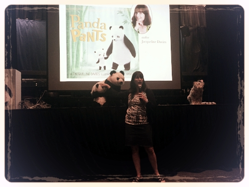 Jacqueline Davies discussing pandas and bamboo before reading her new book,  Panda Pants  at her school visit.