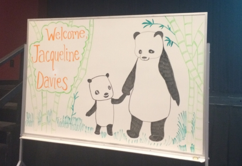 Mrs. M (our amazing librarian) has mad skills--pictured above is her drawing for Jacqueline Davies' author visit. Posted with Permission