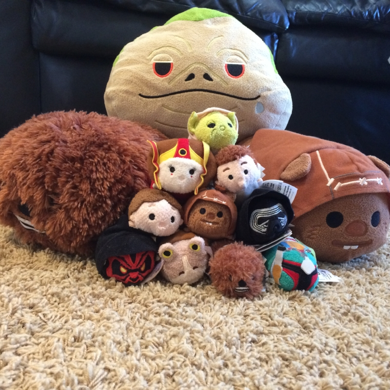 Some of our Star Wars tsum tsum.  Yes, we waited in line outside the Disney Store when they were first released. Please ignore my ugly carpet.  It soon will be banished from our house.