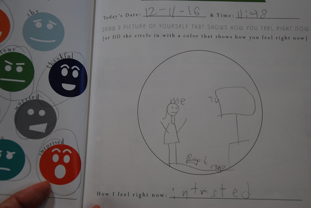 An excerpt from  My Feelings Activity Book .  I love that Little Lion wrote that she is 'interested' and it wasn't even one of the example faces!