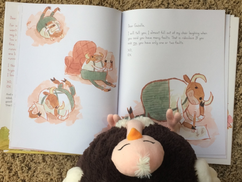Mini Me's Ostrich reading one of Ox's letters to Gazelle.