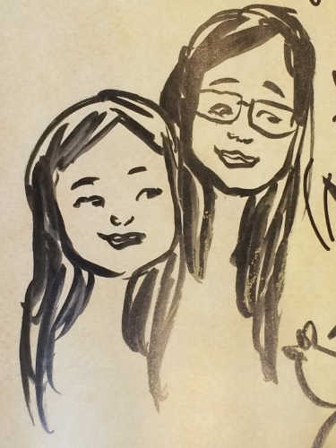 Pham's sketch of the Bookworm Girls.