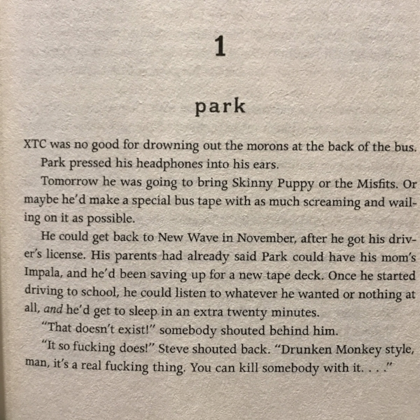 Excerpt from the first page of Rainbow Rowell's Eleanor and Park.