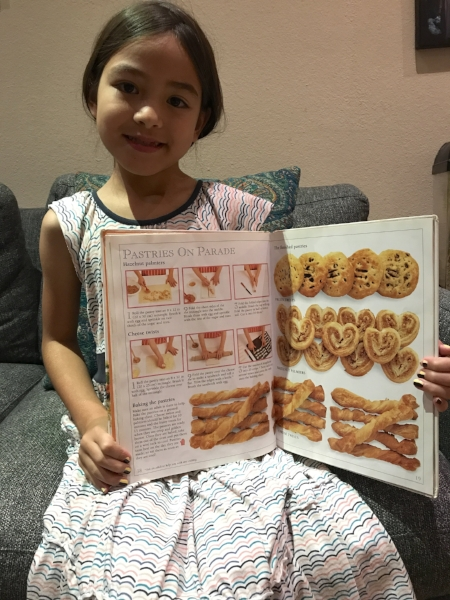 The puff pastry options from  Let's Bake a Treat  by DK books.  Hazelnut Palmiers are pictured above but Little Lion asked to substitute peanuts instead.