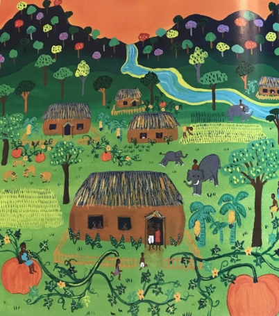 Excerpt from  Pattan's Pumpkin  written by Chitra Soundar and illustrated by Frane Lessac.