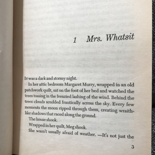 The first page of  A Wrinkle In Time  by Madeleine L'engle
