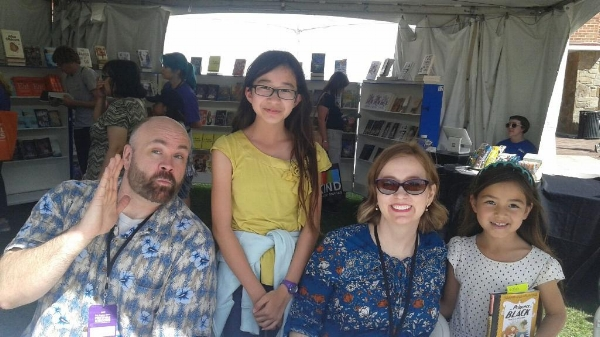 Photo above was taken at the L.A. Times Festival of Books in 2017 with Dean Hale and Shannon Hale.