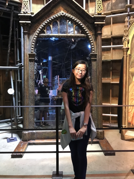 Mini Me in front of the Mirror of Erised at the the WB Studio tour in London. Yes, it's hard to take any pictures without someone else getting in there because it was very crowded!