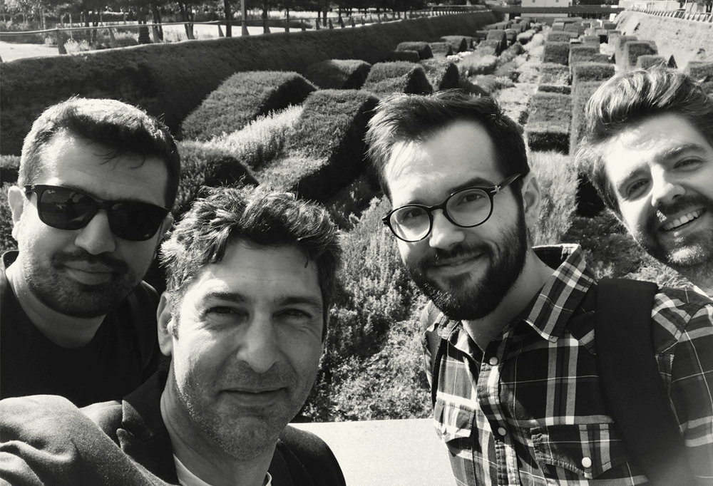 Some of the London team on a study trip to the Thames Barrier Park, From left to right; Uygar Uyksel, Akay Zorlu, Petrica Butusina and Kerem Ulusoy