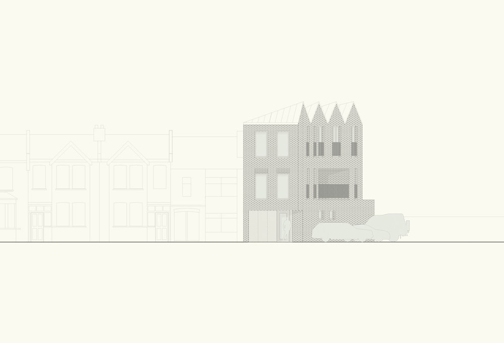 The proposal completes and bookends the existing terrace rising to three storeys in response to the industrial landscape to the east and north of the site. The roof matches the terrace by falling towards the street and negotiates the height difference with the new building.