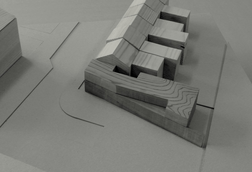 Study model showing the first floor layout which steps back to create a private terrace overlooking the carpark, whilst rationalising the internal floor plan.