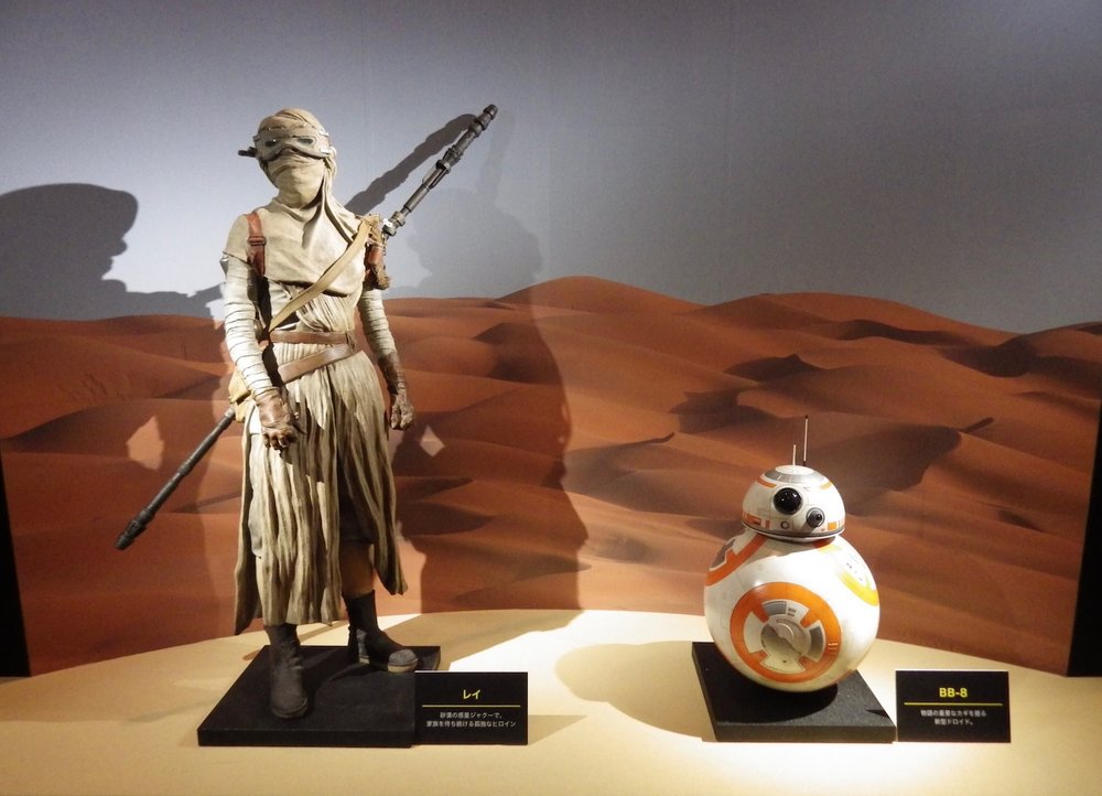 "A costume display, featuring Rey and BB-8 from  The Force Awakens,  welcomes visitors to the ""World of Star Wars ""  exhibition, in Shiodome, Tokyo, on December 23, 2015."