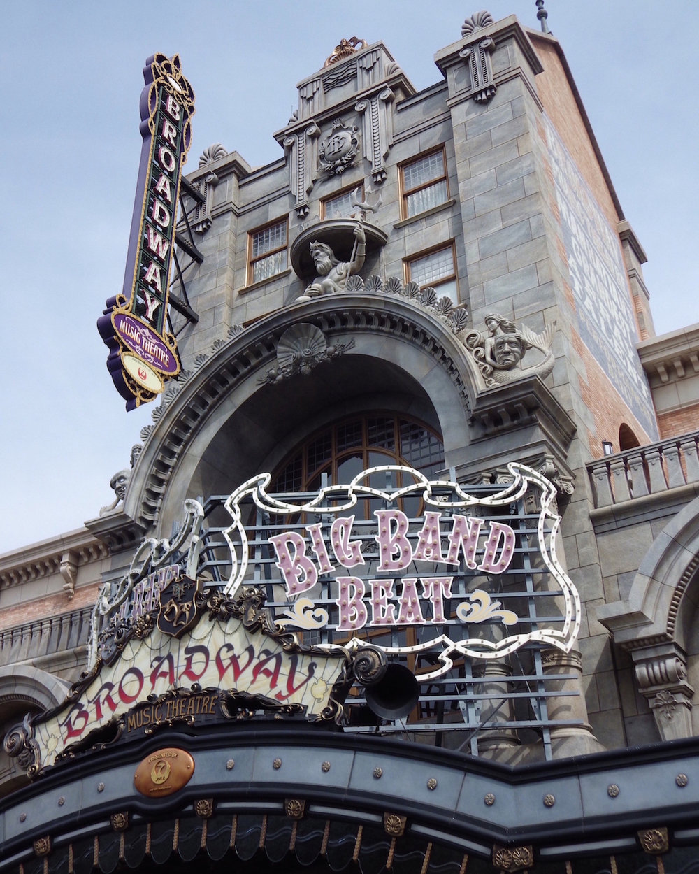 The marquee for  Big Band Beat  and the Broadway Music Theatre in American Waterfront at Tokyo DisneySea.