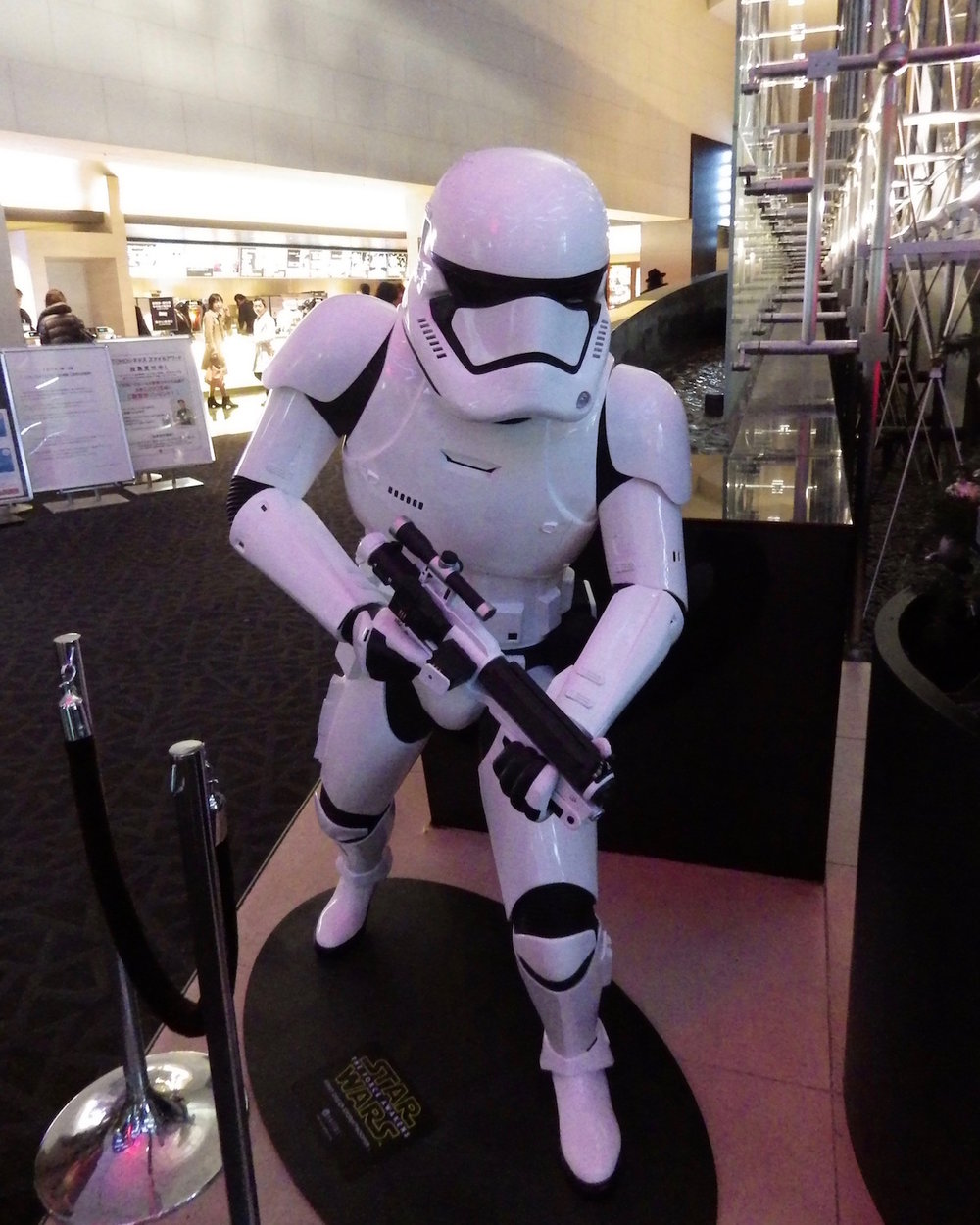 Life-size statue of the new First Order Stormtrooper.