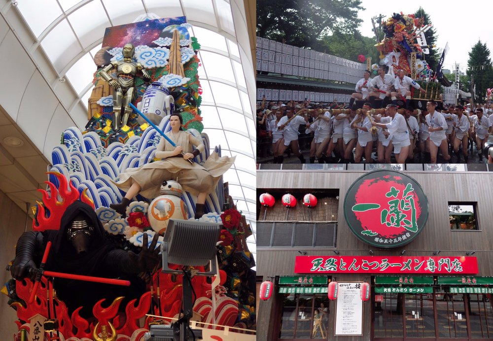 Clockwise, from left: Star Wars  kazariyama  float on display in a shopping arcade; men racing a smaller  kakiyama  float; and the main branch of the ramen chain Ichiran in Fukuoka.