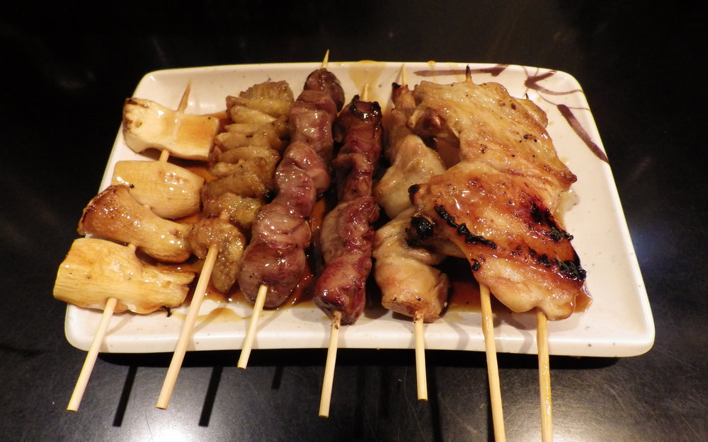 Yakitori chicken skewers.