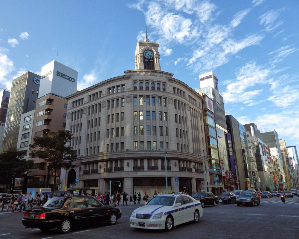 The Wako Department Store building, a central landmark of the Ginza shopping district.