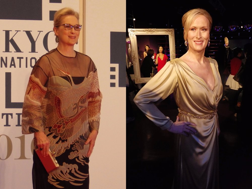 Left: the real Meryl Streep on stage at the 2016 Tokyo International Film Festival. Right: the Meryl Streep wax figure at Madame Tussaud's Tokyo.