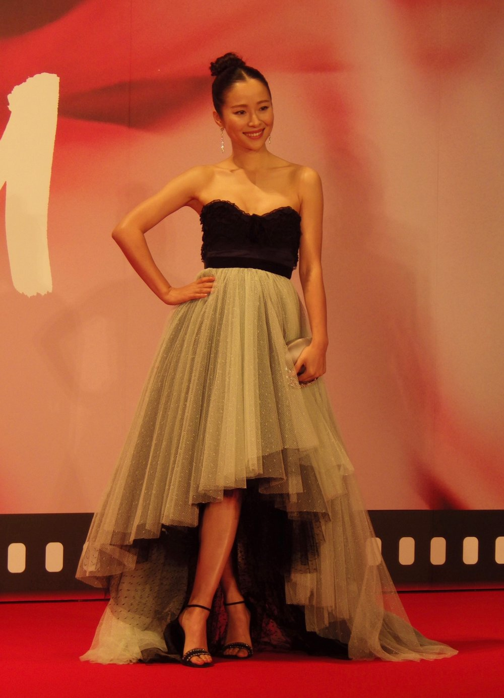 Jiang Yiyan on stage at a red carpet event on the opening day of the 30th Tokyo International Film Festival.