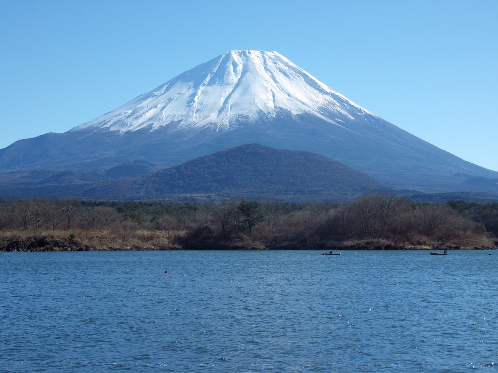 """The """"Kodaki Fuji"""" view of Mount Fuji, as seen across Lake Shojiko in Yamanashi Prefecture."""