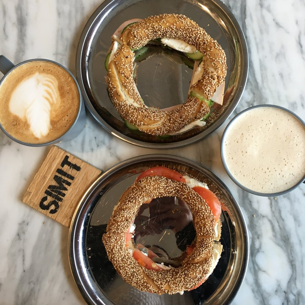 SIMIT & CHAI CO. {Top: Turkey, Cucumber, Goat Cheese BOTTOM: Goat Cheese, Tomato}