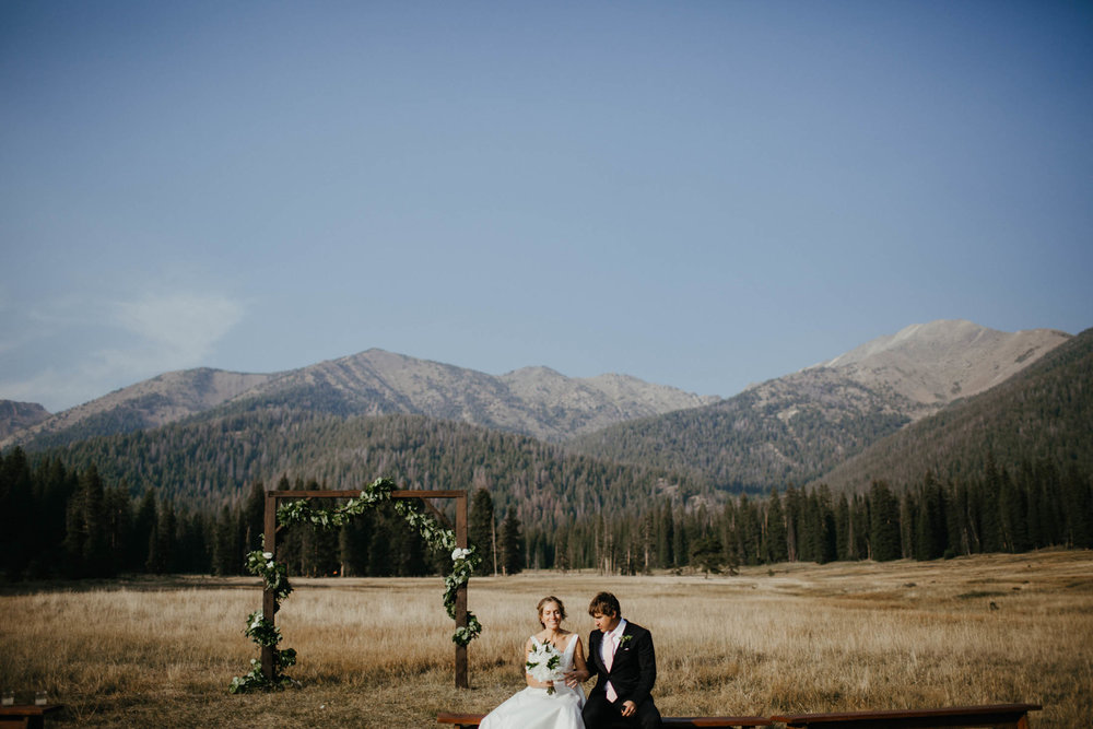 A photo of the meadow at Galena Lodge where ceremonies take place