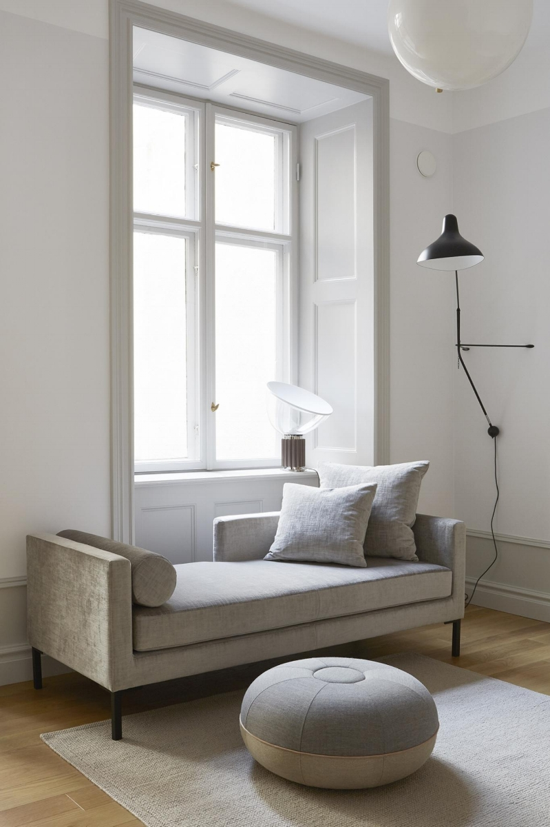 Charming grey modern daybed in small beautiful Stockholm apartment