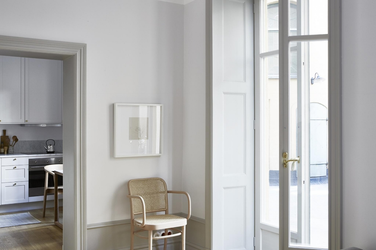 Serene grey in a small Stockholm apartment