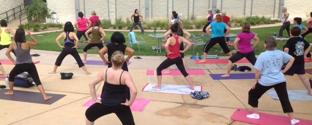 The public is invited to our monthly free Yoga on the Plaza class that we co-sponsor with the City of Round Rock. Classes typically are offered from April – September. Please visit our Yoga on the Plaza page for details!