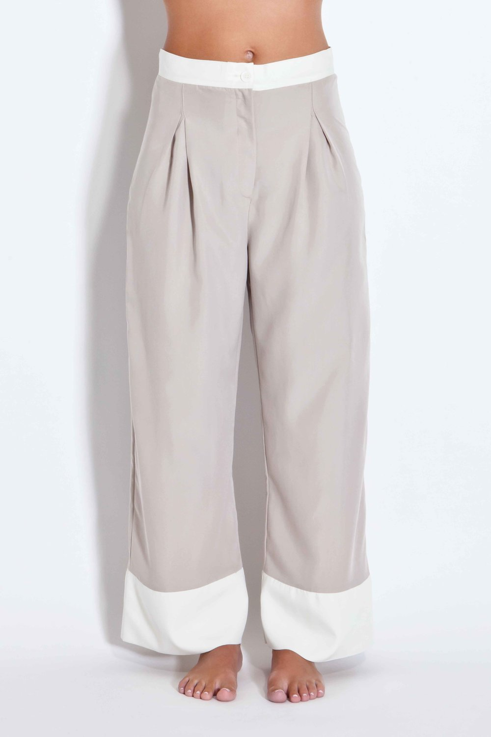 Two-toned trousers - Ecru