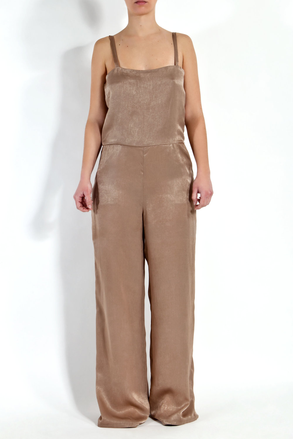 Camel Satin Jumpsuit