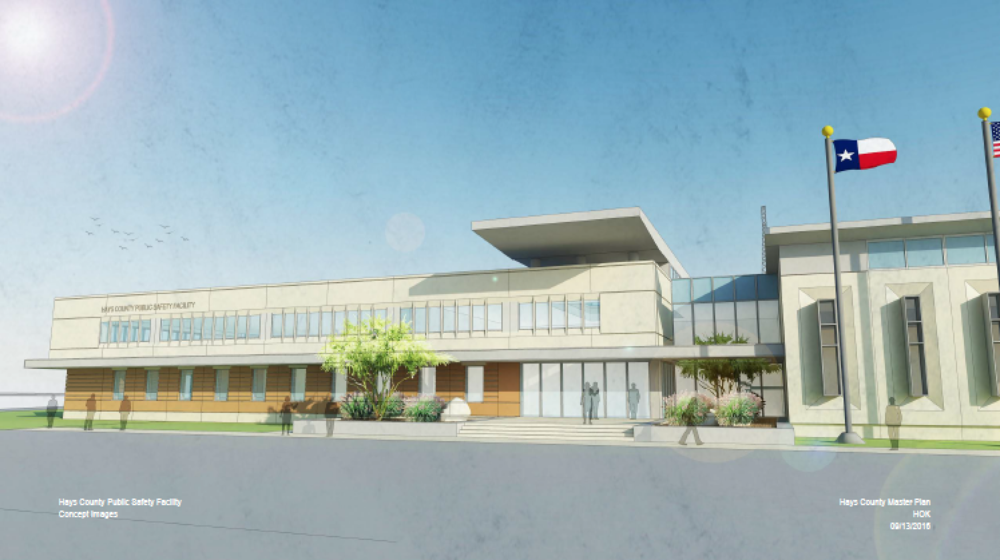 Rendering of the proposed HERO and Law Enforcement Center on the existing Hays County Government Center property.